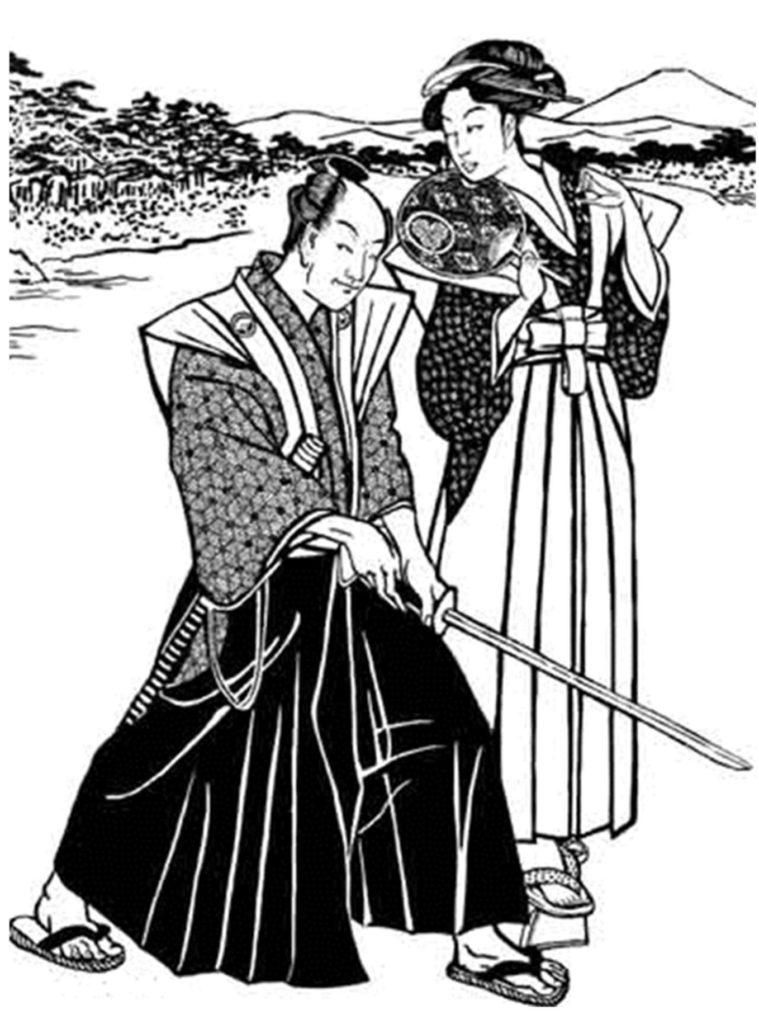 Le Hakama est le large pantalon que portait ordinairement le samurai.